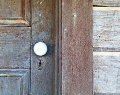 Farmhouse Door (studioferullo) Tags: abstract art beauty architecture bright building buildings colorful brown white blue contrast country crack cracks craquelure decay design detail farm door doorknob historic house keyhole light minimalism old outdoor outdoors outside paint pattern pretty rustic scene study texture tone tones weathered empireranch sonoita arizona farmhouse lock