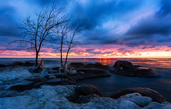 Bradford Beach (gurungbijaya88) Tags: morning seascape sky snow sunrise rocks lake landscape longexposure lakemichigan light trees beach nature flickr clouds