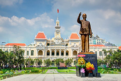 City Hall Ho Chi Minch City (AnnieWilcoxPhotography) Tags: landscape travelblog travellingwithacamera saigon nikon asia hochiminh hochiminhcitypeoplescommittee hcm hdri lthnht hdr 2016 hochiminhcity frenchcolonialstyle vietnam hochiminhcityhall photographytechnique november cityhall wwwanniewilcoxcouk statue vetnamese building gardens hteldevilledesagon photomatix architecturaldetail hcmc travelblogger d7000 anniewilcox edifice edifices highdynamicrange landscaping