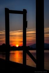 Sunset Through the Pier (evanffitzer) Tags: sunset silhouette river outdoors evening pier warm sundown britishcolumbia ducks calm kamloops goldenhour thompsonriver canoneos60d evanffitzer evanfitzer 1740mmcanonlseries