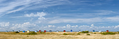 Flommen Beach (claustral) Tags: summer sky panorama coast skne warm sweden huts shacks skanr 2015 ptgui nset beachcabins hytter interestingness71 i500 falsterbonset flommen strandhytter explore20150901