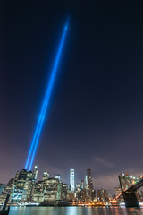 To Infinity (sullivan1985) Tags: nyc newyorkcity bridge ny newyork brooklyn night lights memorial manhattan infinity worldtradecenter towers 911 brooklynbridge eastriver manhattanskyline wtc september11 towersoflight tributeinlight freedomtower