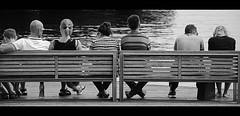 Watching ! (CJS*64) Tags: barcelona people bw monochrome mono blackwhite spain nikon watching group sit rest resting sat nikkor dslr portvell cjs whiteblack nikkorlens d7000 nikond7000 18mm105mmlens craigsunter cjs64