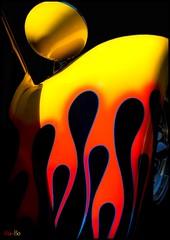 hottie... (Stu Bo) Tags: carart artisticexpression artistic artist artwork poster flames hotrod hottie oldschool onewickedride oneofakind orange yellow red blue vivid vintagecar coolcar certifiedcarcrazy hotrodford fender headlight sbimageworks shadows showcar smooth light kustom kool beautiful streetrod worldcars