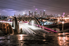 Back to the Beginning (TRI_ART_) Tags: california longexposure bridge landscape us losangeles moody unitedstates sixthstreet lighttrail sixthstreetbridge