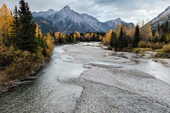 Kananaskis River & Mt. Lorette (chasingthelight10) Tags: travel trees canada storm mountains nature rain photography landscapes countryside events places things rivers vistas forests stormclouds kananaskisriver mtlorette