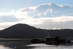 Gorgeous clouds and an Oyster Farm (Merrillie) Tags: sea mountain building water clouds sunrise reflections boats dawn nikon marine scenery rocks waterfront australia wharf views nsw coolpix oysters daybreak brisbanewater p600 seaviews koolewong nswcentralcoast centralcoastnsw