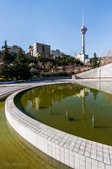 (nima; hopographer) Tags: city reflection tower composition iran tehran milad leadinglines goftogoopark