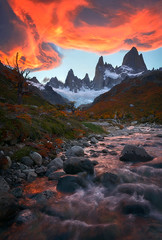 Infierno (Paul Weeks Photography) Tags: travel sunset patagonia santacruz mountains color southamerica argentina roy clouds intense flames fitzroy popular fitz onfire skyonfire infierno elchalten insanelight epiclight