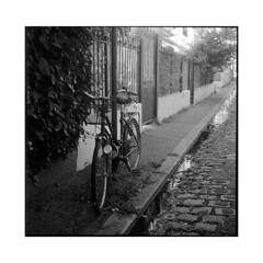 bike  paris, france  2015 (lem's) Tags: street paris france bike minolta rue velo paved autocord pave