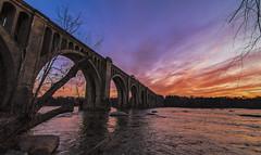 Pump House Park Sunset (Joey Wharton) Tags: bridge sunset water clouds train river landscape outdoors evening virginia richmond amtrak va rva