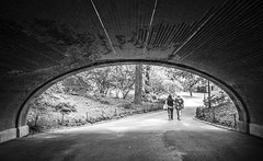 Tnel del tiempo (OneMarie!) Tags: tunel park centralpark bricks path bn bw blackwhite people walking curves curvas gente caminar paseo newyork