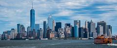 2016 - New York City - Lower Manhattan (Ted's photos - For Me & You) Tags: 2016 cropped nikon nikond750 nikonfx nyc newyorkcity tedmcgrath tedsphotos vignetting manhattasn manhattannyc manhattanfinancialdistrict oneworldtradecenter highrise water hudsonriver batterypark statenislandferry ferry boats boat ship