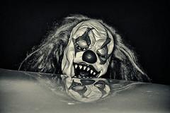 Clown! (slammerking) Tags: clown creepy creepyclown teeth reflection hair mask halloween spooky eye blackwhite bw monochrome nikon