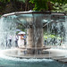 Wedding photographs in a fountain