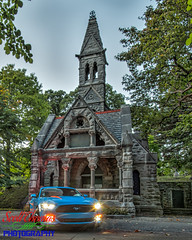 Mustang Halloween (Scottwdw) Tags: receivingvault macphun newyork nikon masonry oakwoodcemetery grabberblue performancepackage automatictransmission mustang ford trees intensifyck 2017 limestone nikon1635mmf4vr tripod outdoors d750 syracuse ecoboost mortuarychapel premium unitedstatesofamerica 840