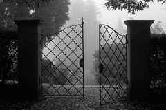 Neulich auf dem Friedhof (mkniebes) Tags: cemetery blackandwhite fujinonxf352 fog morning gate portal