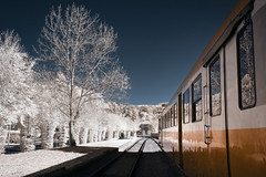 Departures (Lolo_) Tags: ir train railroad infrared auvergne france station gare gentiane express riom montagnes chemin fer touristique cantal mauriac pays parc naturel régional volcans infrarouge wagon reflet reflection trees arbres voyage travel vitres glass autumn micheline cfha 2908