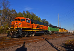"Westbound Transfer in Kansas City, MO (""Righteous"" Grant G.) Tags: bnsf burlington northern railroad railway locomotive train trains up union pacific kansas city missouri emd power westbound west transfer yard job"