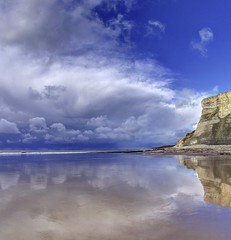 How can I protect you (pauldunn52) Tags: whitmore stairs gklamorgan heritage coast wales refection wet sand clouds storm sea cliffs