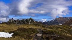 The pause !... (Claude Jenkins) Tags: france chamonixmontblanc hiking randonne nuages clouds automne fall hautesavoie cairn sentiers path nikonflickrtrophy