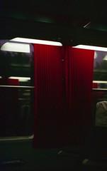 september 2014 (Tefilo de Sales) Tags: portugal trip train window carriage light curtains reflection dark lamp red analog analogic film fuji fujifilm fujixtra400 nikkormatel nikkormat nikon nikkor 50mm 35mm cp