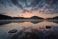 Shiroka polyana dam (Dora Apostolova (dority)) Tags: shirokapolyana dam bulgaria water reflection morning sunrise