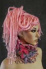 The Versatile Dreadi-Wrap (UniquelyEwe) Tags: headband headwrap handmade crochet ooak pink dreadiwrap dreadlocks etsyhookers uniquelyewe freeform ruffles mannequin dashndazzle