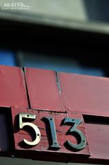 513 (Hi-Fi Fotos) Tags: 513 numbers address boring metal random building detail bland nikkor 105mm micro manual nikon d5000 hififotos hallewell bokeh dof