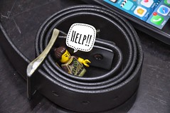 Help! I'm stuck in the Belt's Loop! (parik.v9906) Tags: d90 nikon indoor scratches table home ios iphone leather belt assist help stuck trap days project 365project 365days 365 minifigs minifigures minifigure minifig legos lego