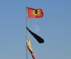 Red Warrior Flags Fly High Above Standing Rock (thaddeusces) Tags: standingrock istandwithstandingrock standwithstandingrock flags travel nativeamerican iroquois indian