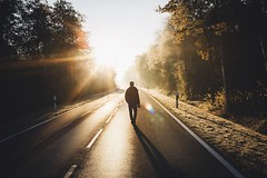 Walking in into the unknown. (Bokehm0n) Tags: landscape nature vsco explore flickr earth travel folk 500px vscofilm germany sunrise road fog blur transportation system light mist backlit highway street weather sunset tree action hurry people outdoors dawn