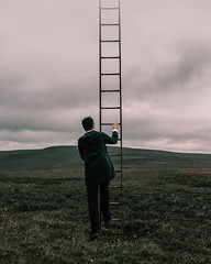 Only up from here (Adam Bird Photography) Tags: adambirdphotography adambird ladder sky mountain landscape surreal fineart conceptual composite narrative self selfportrait explore cinematic atmosphere repetition photoshop flickr steps heaven clouds