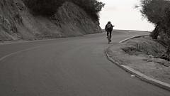 On the road up ... ( Slices of Light   ) Tags: cyclist bike road angel point elysian park black white bw los angeles losangeles la   cityofangels california   californie  kalifornien tatsunis  america  amrique amerika estados unidos olympus ep5