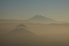 Mounts Dzhutsa and Elbrus in haze before sunset (Sergey Kustov) Tags: dusk sunset mashuk elbrus beshtau mountain ridge caucasus panorama view pyatigorsk russia