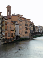 florence arno afternoon (2) (kexi) Tags: florence firenze florencja italy europe toscany tuscany arno river water afternoon samsung wb690 october 2015 vertical kayak bridge