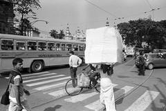 Kolkata, India, 2015 (Philip Solovjov) Tags: street city people blackandwhite bw india man film analog 35mm blackwhite nikon cityscape indian busy nikkor kolkata ilford fp4 calcutta westbengal ilfordfp4plus nikonfm   nikkor28mmf28ai