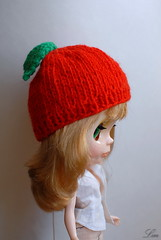 Blythe doll knit hat (Lin109) Tags: orange apple hat fruit cherry pumpkin knitting doll spice knit blythe neo takara cassiopeia