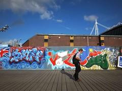 Rugby World Cup street art Cardiff (DJLeekee) Tags: streetart graffiti unity cardiff flags walkway score branding millenniumstadium rugbyworldcup 2015 rwc englandvwales enta ameliaunitythomas