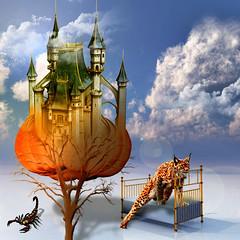 The castle (jaci XIII) Tags: cloud castle pumpkin bed desert surrealism scorpion castelo cama nuvem lynx deserto surrealismo lince abbora escorpio