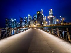 conglomerate. (elbmarcs.) Tags: longexposure sunset night singapore cityscape dusk district central olympus business bluehour zuiko jubileebridge em5 micro43