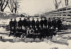 Canal, Portage Locks, Workers in Snow