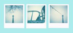 Polaroid 600, first day, LOVE IT (Narzouko) Tags: road park blue light 3 color tree film fog contrast polaroid deutschland europa europe triptych lumire low special bleu 600 instant amusementpark allemagne arbre parc mange brouillard couleur triptyque impossible dattraction spcial instantan grand8 nzk narzouko