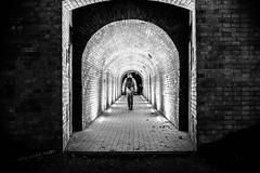 Zamosc (RafalGorski) Tags: zamosc polska lubelskie park night walking man tunnel blackandwhite lights bricks autumn architecture longexposition nikon nikkor monochrome
