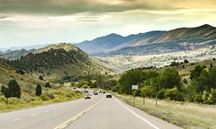 Headed Downhill Toward Morrison, CO on a hazy day (photographyguy) Tags: morrisonco colorado highway cars landscape rockies rockymountains foothills redrocks clouds