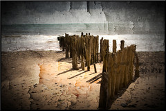 Beach Protections (williamwalton001) Tags: sun|sky|cloud sand wood artwork water weather borders seaside fineart texture trolled rest daarklands