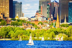 Beacon Hill and Downtown Boston ((Jessica)) Tags: charlesriver water boston beaconhill downtown statehouse sailboats pw massachusetts newengland summer
