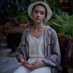 garden (Ivan Ovchinnikov) Tags: garden portrait girl face select film fuji fujifilm pro 160ns kiev88 light hat color colour chiile ivanovchinnikov   canoscan canon 9000f