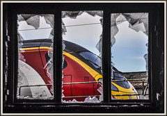 Smash and Grab (Jim the Joker) Tags: 390141 class390 virgintrains pendolino westcoastmainline wcml wolverhampton window glass broken smashed railway train