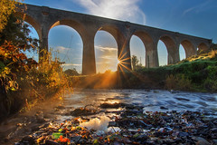The Golden Arches (Alan10eden) Tags: tassagh river callan history historic railway countyarmagh keady ulster alanhopps canon 80d sigma 1770mm mist light dawn sunrise autumn golden glow rays landscape water early morning stream sunburst